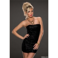 SEXY STRAPLESS PARTY EVENING DRESS WITH SEQUINS BLACK Onesize (UK 10/12)