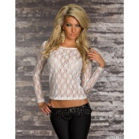 SEXY TRANSPARENT LONG-SLEEVED SHIRT MADE OF LACE WHITE