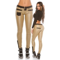 SEXY TREGGINGS PANTS IN GLOSSY LEATHER-LOOK BEIGE/BLACK