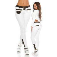 SEXY TREGGINGS PANTS IN GLOSSY LEATHER-LOOK WHITE/BLACK