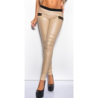 SEXY TREGGINGS PANTS IN LEATHER-LOOK WITH ZIPS BEIGE UK 10 (S)