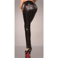 SEXY TREGGINGS DRAINPIPE PANTS WET LOOK BLACK UK 12 (L)