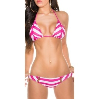 SEXY TRIANGLE HALTERNECK BIKINI WITH STRIPES FUCHSIA/WHITE