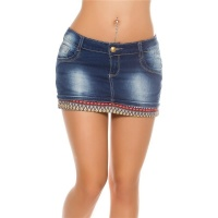 SEXY USED-LOOK DENIM JEANS MINISKIRT BOHEMIAN-STYLE DARK BLUE