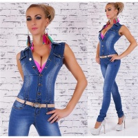 SEXY USED LOOK JEANS OVERALL JUMPSUIT WITH BELT DARK BLUE UK 14 (L)