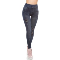 SEXY USED-LOOK JEGGINGS LEGGINGS IN JEANS-OPTIK DUNKELBLAU