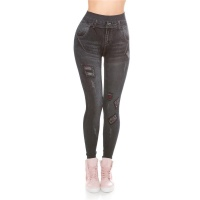 SEXY USED-LOOK JEGGINGS LEGGINGS IN JEANS-LOOK BLACK