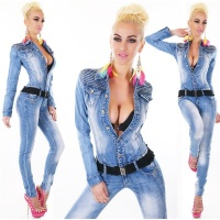 SEXY USED-LOOK LANGARM JEANS OVERALL TAILLIERT MIT G�RTEL...