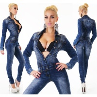 SEXY USED-LOOK LANGARM JEANS OVERALL TAILLIERT MIT STRASS DUNKELBLAU 36 (S)