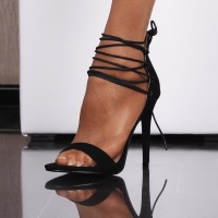 SEXY VELOUR SANDALS HIGH HEELS SHOES WITH LACING BLACK