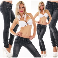 SEXY SKINNY FADED LADIES DRAINPIPE JEANS BLACK