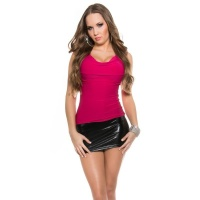 SEXY COWL-NECK MINIDRESS WITH WET LOOK INSET FUCHSIA/BLACK