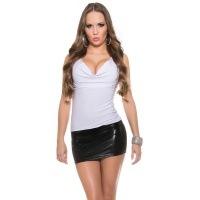 SEXY COWL-NECK MINI DRESS WITH WET LOOK INSET WHITE/BLACK Onesize (UK 8,10,12)