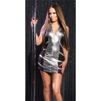 SEXY STRIPPER MINIDRESS WITH CHIFFON CLUBWEAR SILVER/BLACK