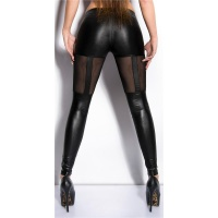 SEXY WET LOOK LEGGINGS WITH CHIFFON CLUBBING BLACK