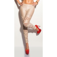 SEXY WET LOOK LEGGINGS WITH LACE GOGO CLUBWEAR BEIGE Onesize (UK 8,10,12)