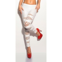 SEXY WET LOOK LEGGINGS WITH LACE GOGO CLUBWEAR WHITE Onesize (UK 8,10,12)