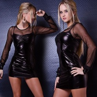 SEXY WET LOOK MINIDRESS WITH CHIFFON CLUBBING BLACK
