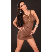 SEXY WET LOOK MINIDRESS PARTY DRESS WITH GLASS STONES BROWN UK 12/14 (M/L)