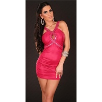SEXY WET LOOK MINIDRESS PARTY DRESS WITH GLASS STONES FUCHSIA