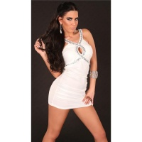 SEXY WET LOOK MINIDRESS PARTY DRESS WITH GLASS STONES WHITE UK 10/12 (S/M)