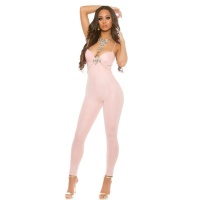 SEXY WETLOOK PARTY OVERALL JUMPSUIT MIT DÜNNEN TRÄGERN ALTROSA