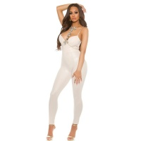SEXY WET LOOK PARTY OVERALL JUMPSUIT WITH STRAPS BEIGE