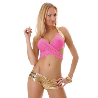 SEXY WICKEL-TOP CLUBWEAR GOGO PINK/GOLD
