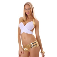 SEXY WICKEL-TOP CLUBWEAR GOGO WEISS/GOLD
