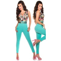 SUMMERLY SLEEVELESS OVERALL JUMPSUIT WITH FLOWERS TURQUOISE