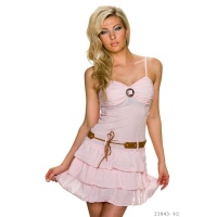 SUMMERLY STRAP MINIDRESS WITH FLOUNCED HEM INCL. BELT PINK Onesize (UK 8,10,12)