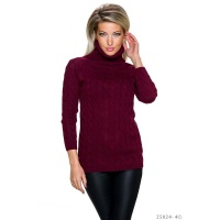 ELEGANT LONG POLO-NECK SWEATER WITH CABLE STITCH WINE-RED