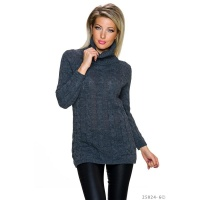 ELEGANT LONG POLO-NECK SWEATER WITH CABLE STITCH DARK GREY