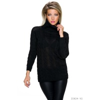 ELEGANT LONG POLO-NECK SWEATER WITH CABLE STITCH BLACK