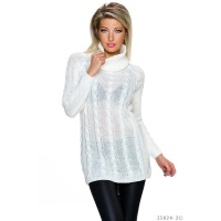 ELEGANT LONG POLO-NECK SWEATER WITH CABLE STITCH WHITE