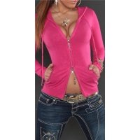 STYLISH FINE-KNITTED 2-WAY-ZIPP JACKET WITH HOOD AND SEQUINS FUCHSIA