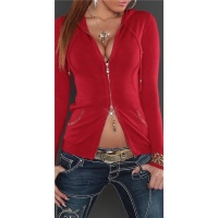 STYLISH FINE-KNITTED 2-WAY-ZIPP JACKET WITH HOOD AND SEQUINS RED