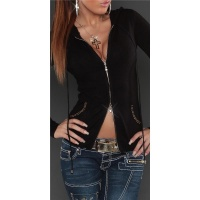 STYLISH FINE-KNITTED 2-WAY-ZIP JACKET WITH HOOD AND SEQUINS BLACK