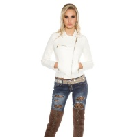 STYLISH BIKER JACKET MADE OF SOFT IMITATION LEATHER WHITE