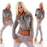STYLISH LADIES JEANS JACKET WITH RHINESTONES AND ARTIFICIAL PEARLS GREY