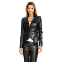 STYLISH LADIES IMITATION LEATHER JACKET IN BIKER STYLE BLACK