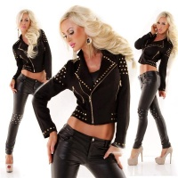 STYLISH LADIES JACKET MADE OF ARTIFICIAL BUCKSKIN WITH RIVETS BLACK