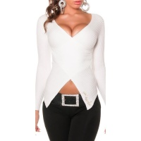STYLISH RIB-KNITTED SWEATER PULLOVER IN WRAP-LOOK CREAM Onesize (UK 8,10,12)