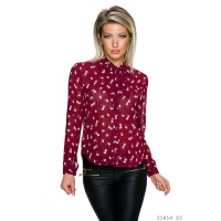 SWEET TIE-NECK CHIFFON BLOUSE WITH FLOWER DESIGN WINE-RED