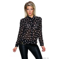 SWEET TIE-NECK CHIFFON BLOUSE WITH FLOWER DESIGN BLACK