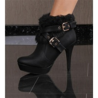 SWEET ANKLE BOOTS SHOES HIGH HEELS WITH ARTIFICIAL FUR BLACK