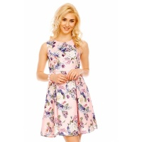 SWEET SLEEVELESS A-LINE MINIDRESS WITH FLORAL PATTERN PINK