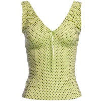 SWEET CROP TOP WITH POLKA DOTS AND FRILLS WAISTED GREEN