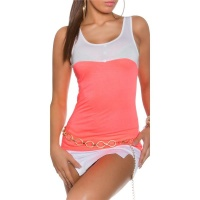 SWEET BI-COLOUR TOP WITH DECORATIVE BUTTONS WHITE/CORAL Onesize (UK 8,10,12)
