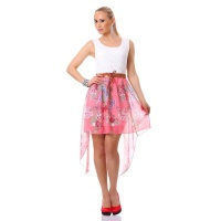 SWEET CHIFFON MINIDRESS WITH LACE AND FLORAL PATTERN WHITE/CORAL